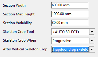 Passthrough machine settings for trapdooring skeleton fragments progressively