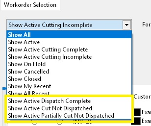 Dispatch Filters Menu